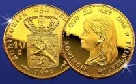 Gratis gouden tientje Koningin Wilhelmina